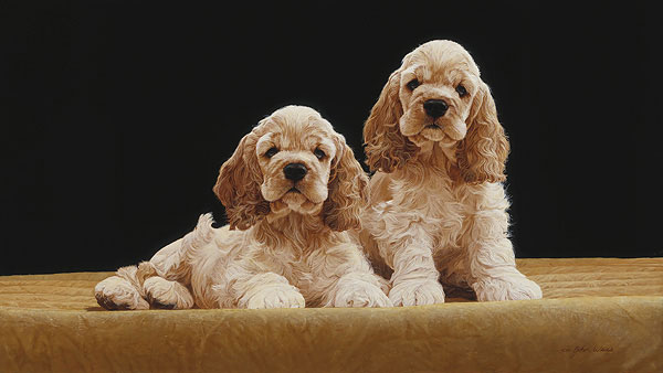 John Weiss - COCKER SPANIEL PUPPIES -  LIMITED EDITION PRINT Published by the Greenwich Workshop
