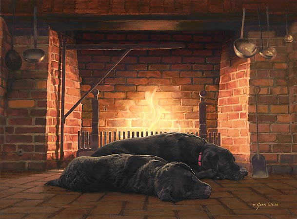 John Weiss - FIRESIDE FRIENDS -  LIMITED EDITION PRINT Published by the Greenwich Workshop