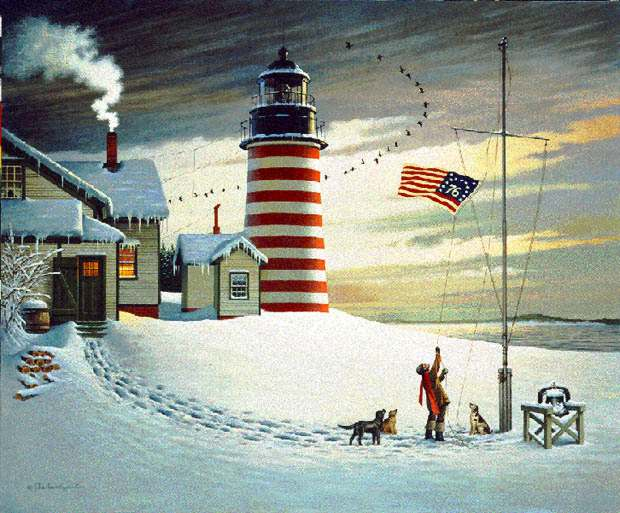 Charles Wysocki - WEST QUODDY HEAD LIGHT -  LIMITED EDITION PRINT Published by the Greenwich Workshop