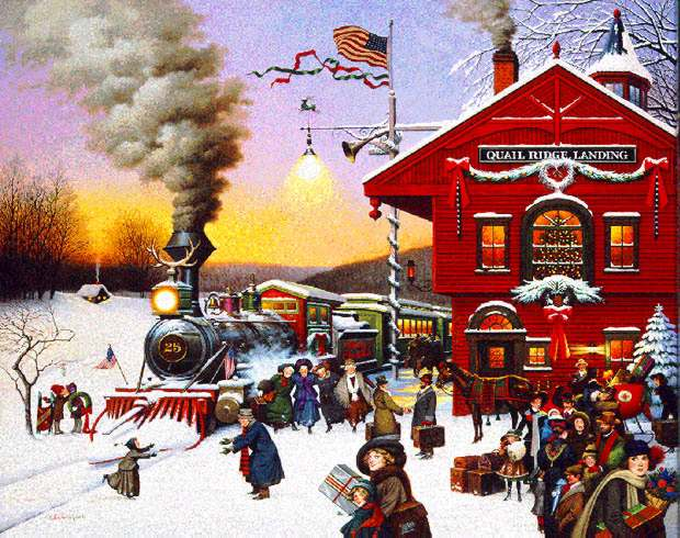 Charles Wysocki - WHISTLE STOP CHRISTMAS -  LIMITED EDITION PRINT Published by the Greenwich Workshop