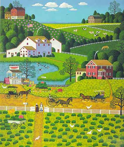 Charles Wysocki - JOLLY HILL FARMS -  LIMITED EDITION PRINT Published by the Greenwich Workshop