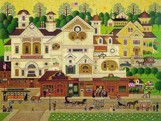 Charles Wysocki - DERBY SQUARE -  LIMITED EDITION PRINT Published by the Greenwich Workshop