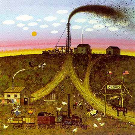 Charles Wysocki - SUNSET HILLS TEXAS WILDCATTERS -  LIMITED EDITION PRINT Published by the Greenwich Workshop