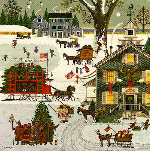 Charles Wysocki - 1982 CHRISTMAS PRINT -  LIMITED EDITION PRINT Published by the Greenwich Workshop
