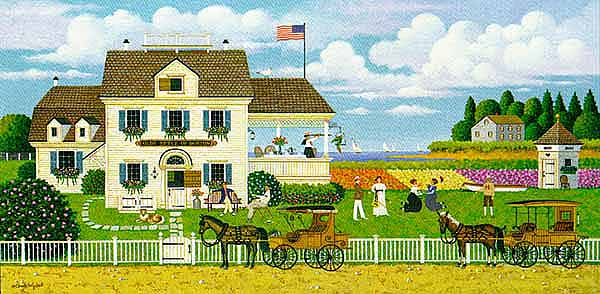 Charles Wysocki - TEA BY THE SEA -  LIMITED EDITION PRINT Published by the Greenwich Workshop