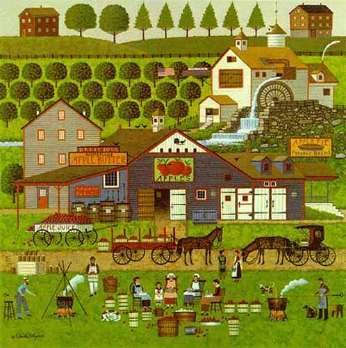 Charles Wysocki - APPLE BUTTER MAKERS -  LIMITED EDITION PRINT Published by the Greenwich Workshop