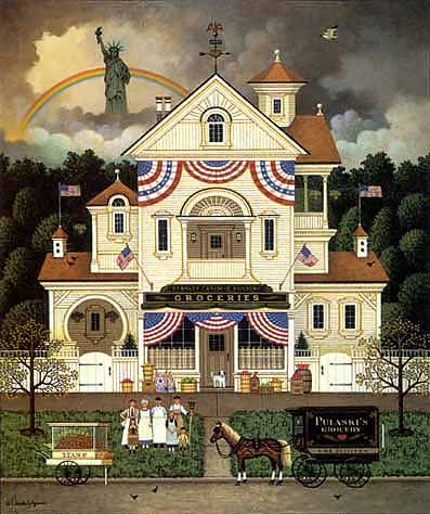 Charles Wysocki - LADY LIBERTY´S INDEPENDENCE DAY ENTERPRISING IMMI -  L.E.PRINT Published by the Greenwich Workshop