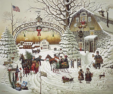 Charles Wysocki - CHRISTMAS GREETING -  LIMITED EDITION PRINT Published by the Greenwich Workshop