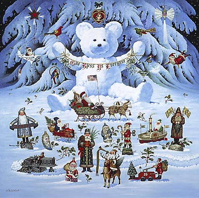 Charles Wysocki - JINGLE BELL TEDDY AND FRIENDS -  LIMITED EDITION PRINT Published by the Greenwich Workshop