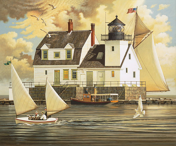 Charles Wysocki - Rockland Breakwater Light -  ANNIVERSARY EDITION CANVAS Published by the Greenwich Workshop
