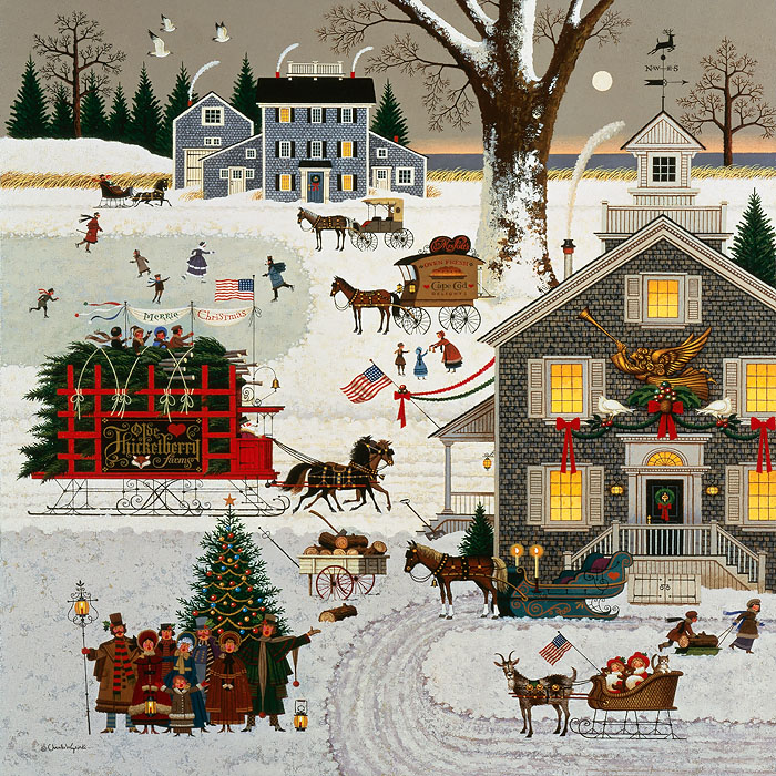 Charles Wysocki - Cape Cod Christmas -  ANNIVERSARY EDITION CANVAS Published by the Greenwich Workshop