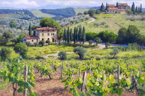 June Carey - CHIANTI ESTATE -  LIMITED EDITION PRINT Published by the Greenwich Workshop