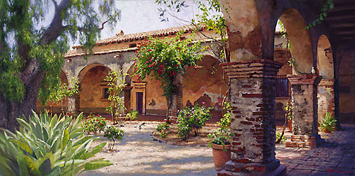 June Carey - THE MISSION AT SAN JUAN CAPISTRANO -  LIMITED EDITION CANVAS Published by the Greenwich Workshop