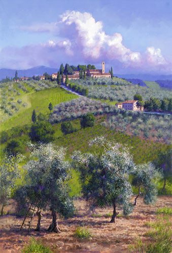 June Carey - Oil Trees of Chianti -  LIMITED EDITION CANVAS Published by the Greenwich Workshop