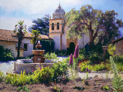 June Carey - Springtime in the Mission Garden -  LIMITED EDITION CANVAS Published by the Greenwich Workshop