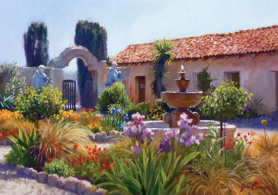 June Carey - Big Little Mission Garden -  LIMITED EDITION CANVAS Published by the Greenwich Workshop