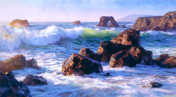 June Carey - Sonoma Surf -  MASTERWORK CANVAS EDITION Published by the Greenwich Workshop