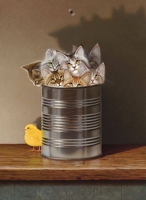 Braldt Bralds - Cats in a Can -  OPEN EDITION CANVAS Published by the Greenwich Workshop