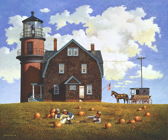 Charles Wysocki - Gay Head Light -  ANNIVERSARY EDITION CANVAS Published by the Greenwich Workshop