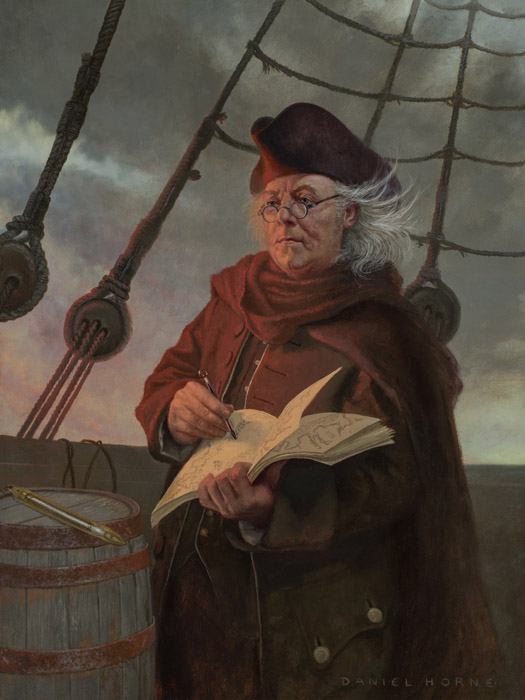 Daniel Horne - Ben Franklin Mapping the Gulf Stream -  OPEN EDITION CANVAS Published by the Greenwich Workshop