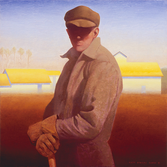 Gary Ernest Smith - Figure with Yellow Roofs -  OPEN EDITION CANVAS Published by the Greenwich Workshop