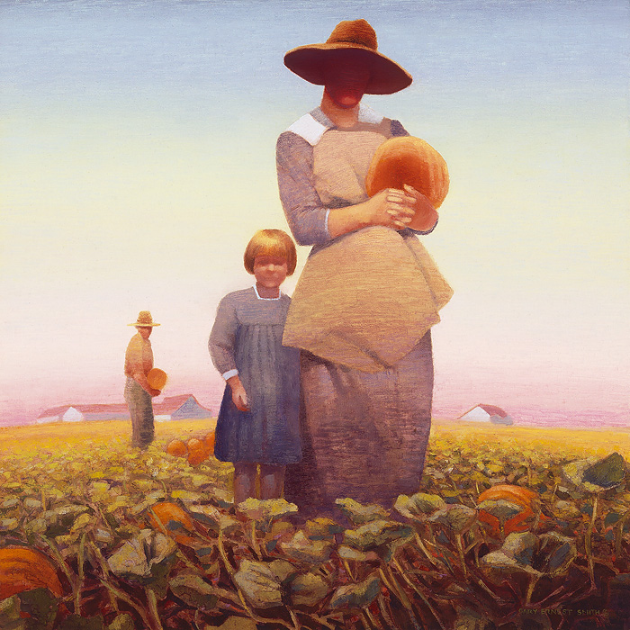 Gary Ernest Smith - Pumpkin Gatherers -  OPEN EDITION CANVAS Published by the Greenwich Workshop