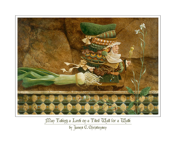 James C. Christensen - Man Taking a Leek on a Tiled Wall for a Walk -  OPEN EDITION PRINT Published by the Greenwich Workshop