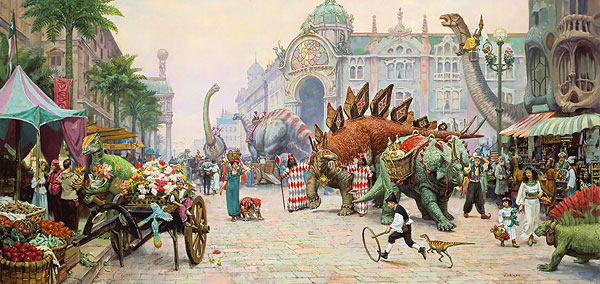 James Gurney - DINOSAUR BOULEVARD -  OPEN EDITION PRINT Published by the Greenwich Workshop