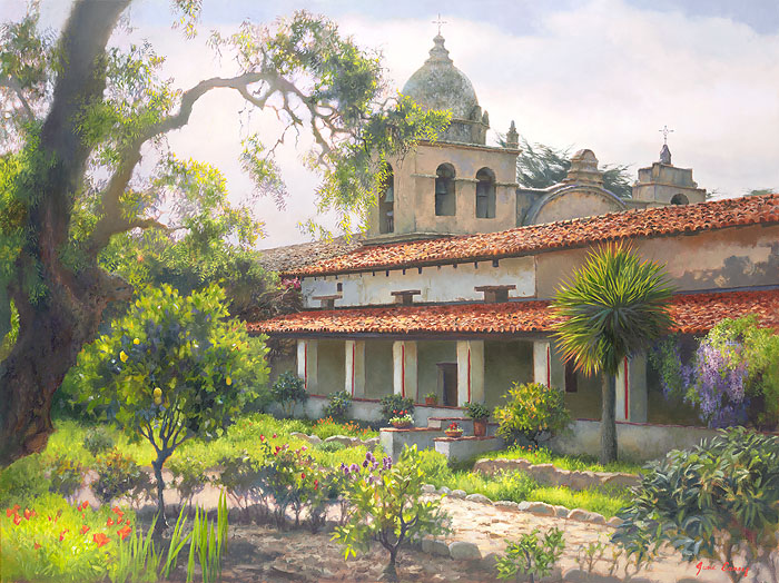 June Carey - Carmel Mission Garden -  OPEN EDITION CANVAS Published by the Greenwich Workshop