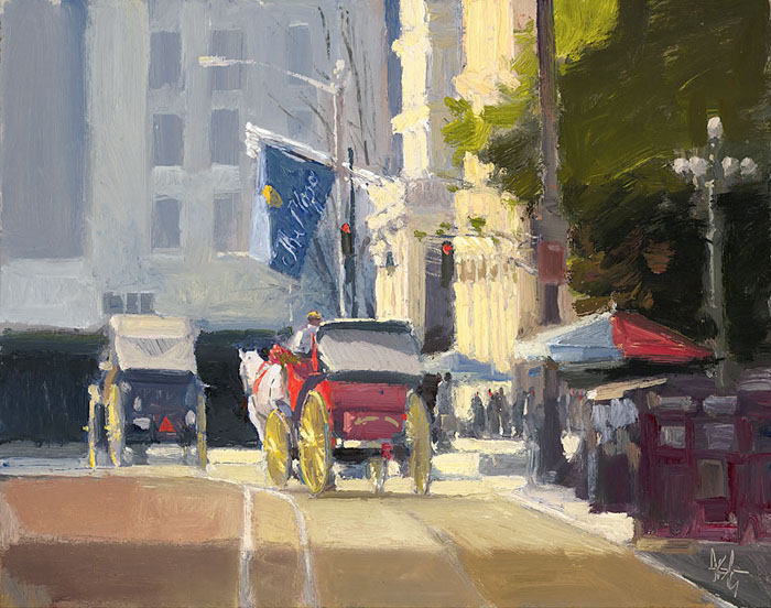 Ken Auster - Playing the Plaza -  OPEN EDITION CANVAS Published by the Greenwich Workshop