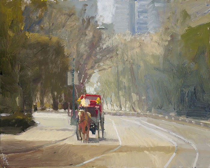 Ken Auster - Central Park and Ride -  OPEN EDITION CANVAS Published by the Greenwich Workshop