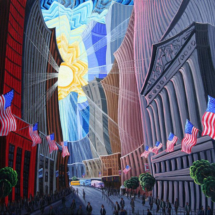 Kim Wiggins - Days End at Wall Street and Broad -  OPEN EDITION CANVAS Published by the Greenwich Workshop