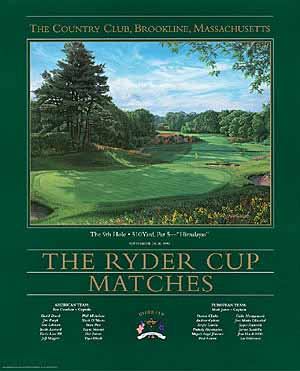 Linda Hartough - 9TH HOLE THE RYDER CUP COUNTRY CLUB BROOKLINE MA -  POSTER Published by the Greenwich Workshop