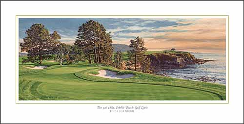 Linda Hartough - 5TH HOLE PEBBLE BEACH GOLF LINKS -  OPEN EDITION PRINT Published by the Greenwich Workshop