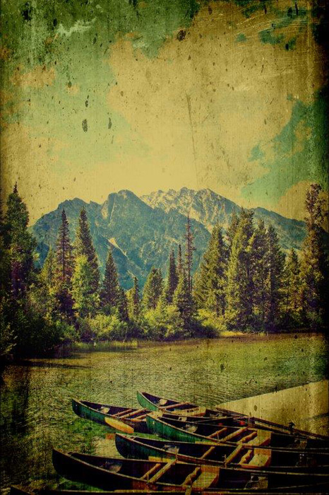 Mark A. Cole - Canoes in the Mountains -  OPEN EDITION CANVAS Published by the Greenwich Workshop