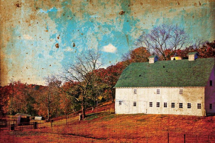 Mark A. Cole - White Barn in the Ozarks -  OPEN EDITION CANVAS Published by the Greenwich Workshop