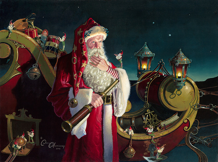 Dean Morrissey - Santa: Packed and Ready -  OPEN EDITION CANVAS Published by the Greenwich Workshop