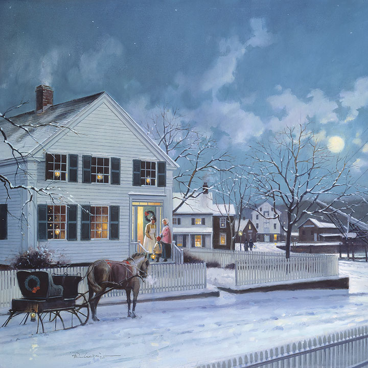 Paul Landry - Christmas at Mystic Seaport -  OPEN EDITION CANVAS Published by the Greenwich Workshop