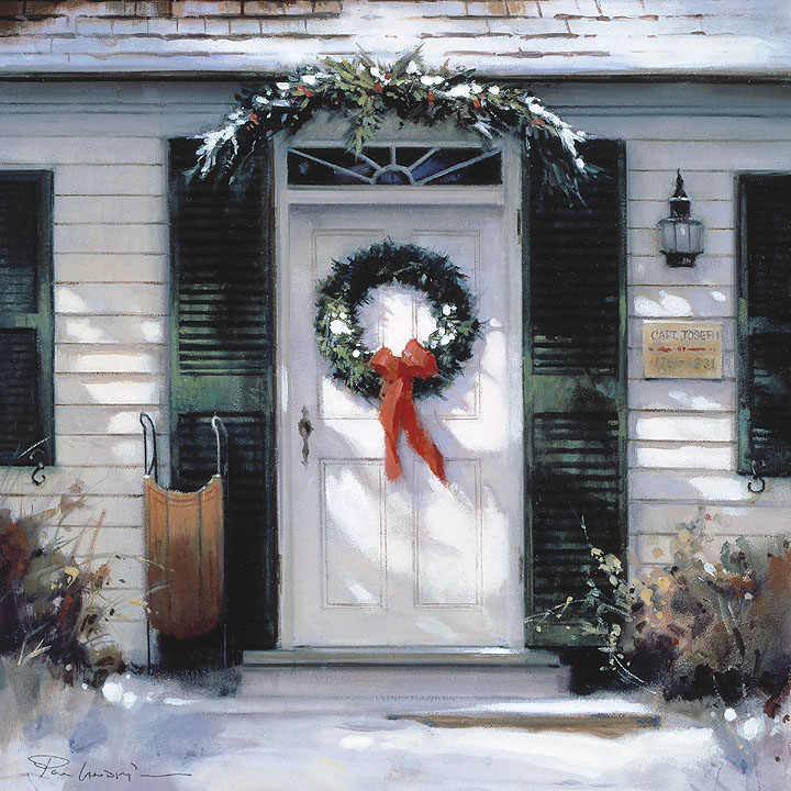 Paul Landry - Christmas Door -  OPEN EDITION CANVAS Published by the Greenwich Workshop