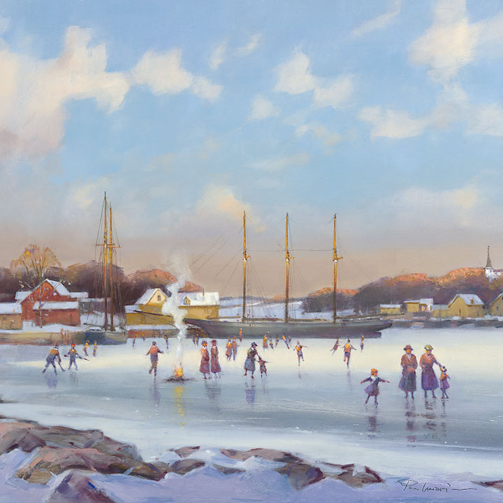 Paul Landry - Bay Skaters -  OPEN EDITION CANVAS Published by the Greenwich Workshop
