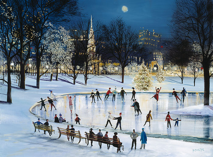 Sally Caldwell Fisher - Skating at Frog Pond -  OPEN EDITION CANVAS Published by the Greenwich Workshop