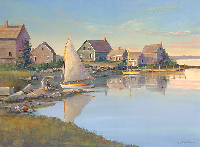 Sally Caldwell Fisher - Still Morning Mackeral Cove -  OPEN EDITION CANVAS Published by the Greenwich Workshop