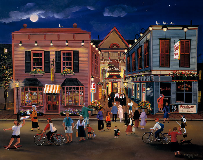 Sally Caldwell Fisher - Tourist Town -  OPEN EDITION CANVAS Published by the Greenwich Workshop