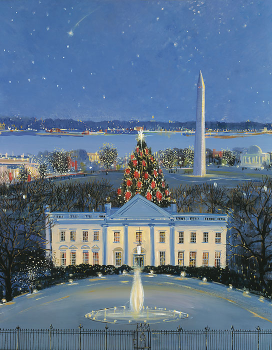 Sally Caldwell Fisher - White House at Christmas -  OPEN EDITION CANVAS Published by the Greenwich Workshop