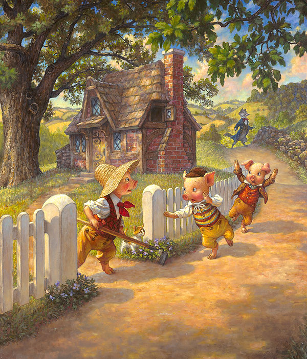 Scott Gustafson - Three Little Pigs -  OPEN EDITION CANVAS Published by the Greenwich Workshop