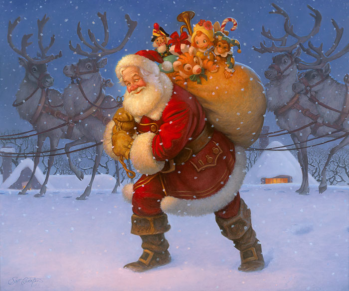 Scott Gustafson - Santa with Reindeer -  OPEN EDITION CANVAS Published by the Greenwich Workshop