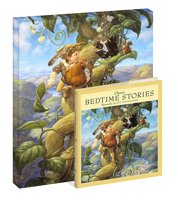 Scott Gustafson - Classic Bedtime Stories Gift Set:Jack and the Beanstalk -  OPEN EDITION CANVAS Published by the Greenwich Workshop