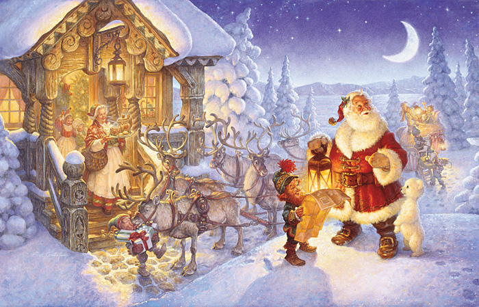 Scott Gustafson - Santa at the North Pole -  OPEN EDITION CANVAS Published by the Greenwich Workshop