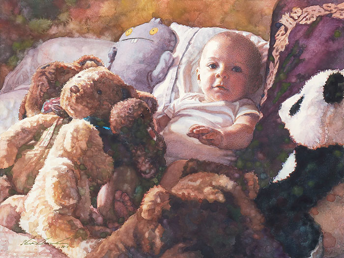 Steve Hanks - Baby Sitting -  OPEN EDITION CANVAS Published by the Greenwich Workshop